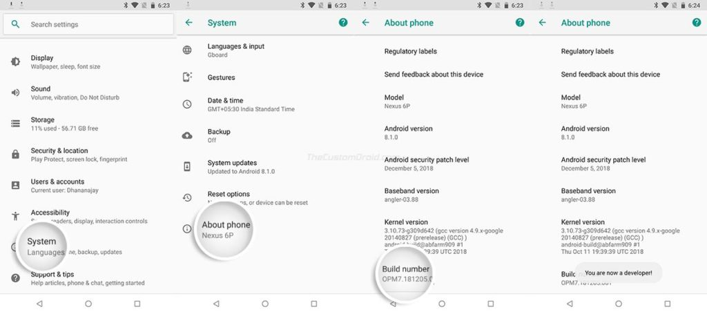 Enable Hidden Developer Options on Nexus 6P