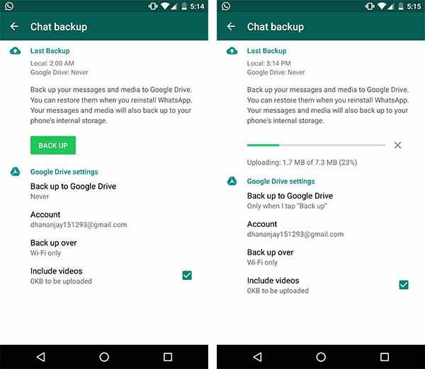 Backup WhatsApp Messages to Google Drive Screenshot