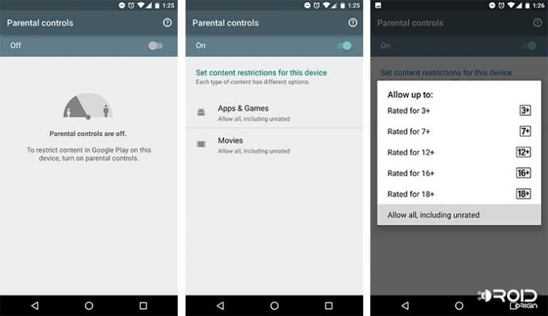 Parental Control on Android App Filtering