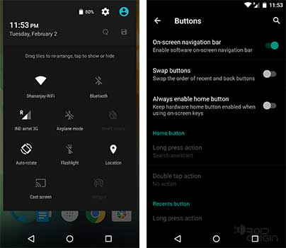 OxygenOS Quick Toggles and Buttons