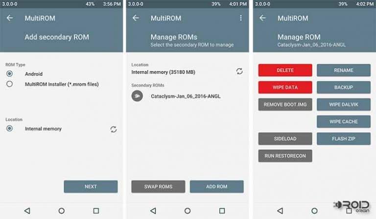 MultiROM on Nexus 6P - Manage ROMs