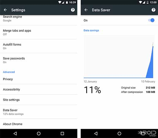 Reduce Data Usage on Android Chrome Data Saver