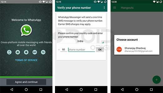 Setup WhatsApp Google Hangouts