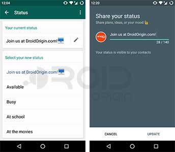 WhatsApp and Google Hangouts Status Update