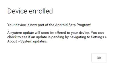 enroll in Android Beta Program Device Enrolled