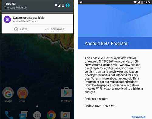 enroll in Android Beta Program Update Notification
