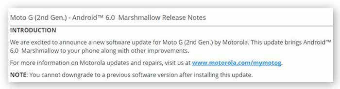 Moto G 2014 Marshmallow Update Release Notes