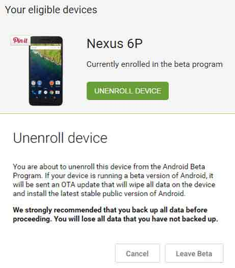 Return from Android N Developer Preview Unenroll device