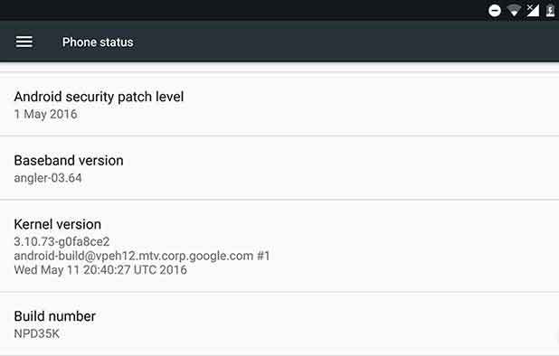 Android N Developer Preview 3-About Phone Screenshot