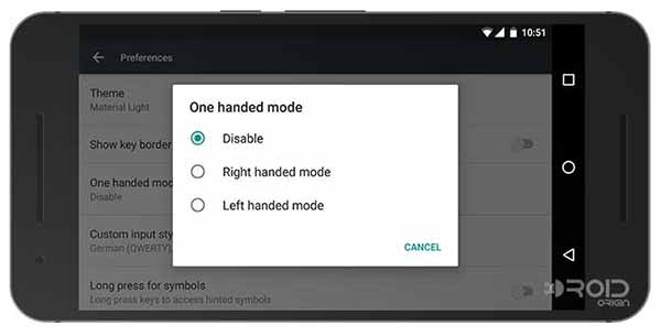 Google Keyboard 5.0 One Handed Mode