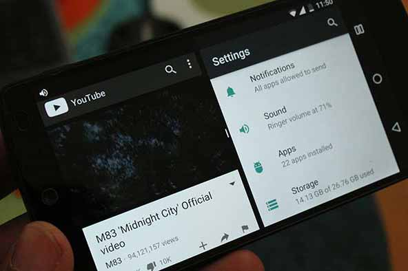 Nexus 5 Android Nougat Multi-window support