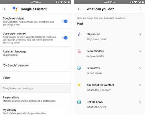 Enable Google Assistant - Settings