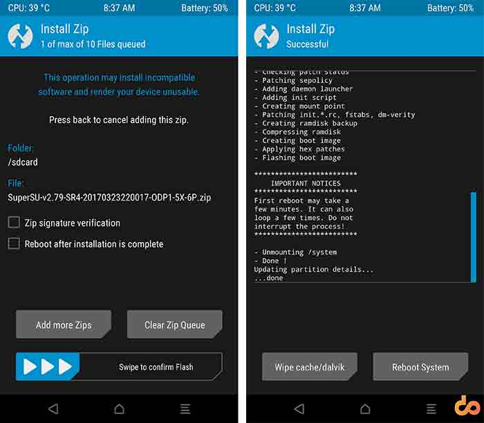 Root Android O Developer Preview SuperSU Install