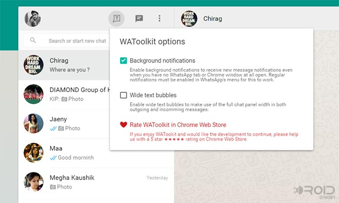 Mirror WhatsApp using WAToolkit