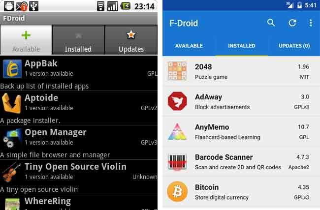 F-Droid app updated UI