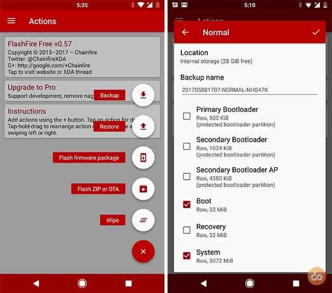 Backup Android ROM using Flashfire app