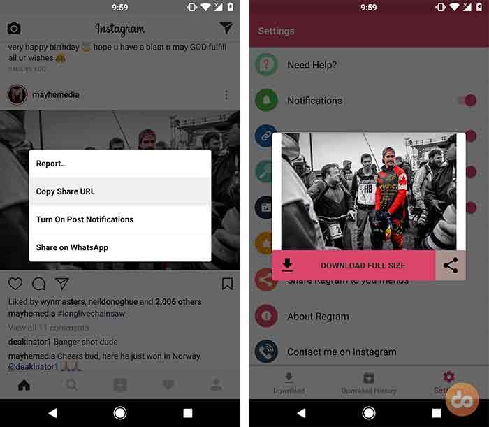 Save Instagram Photos using Regram Android app