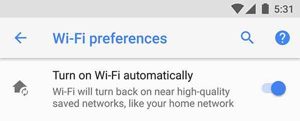 Android Oreo Features - Connect to WiFi Automatically