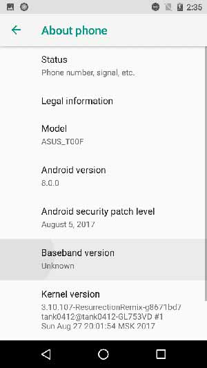 Install Android Oreo ROM on Asus Zenfone 5 - Screenshot