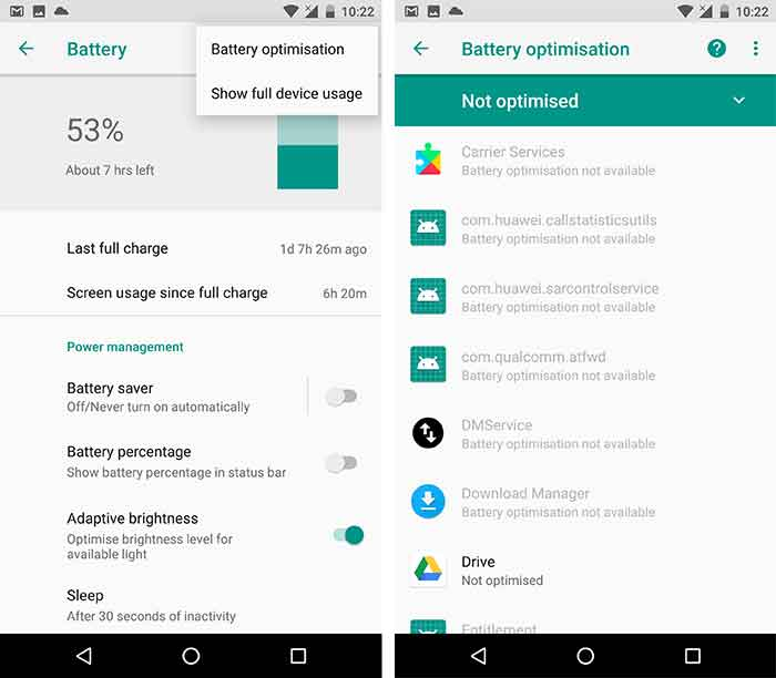 Disable Doze for specific apps - Go to Battery Optimisation