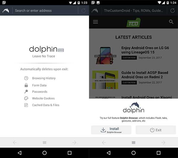 Best Secure Android Browsers - Dolphin Zero