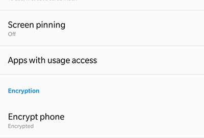 Decrypt OnePlus 5 and Disable Forced Encryption - Before Encryption (Settings > Security & fingerprint)