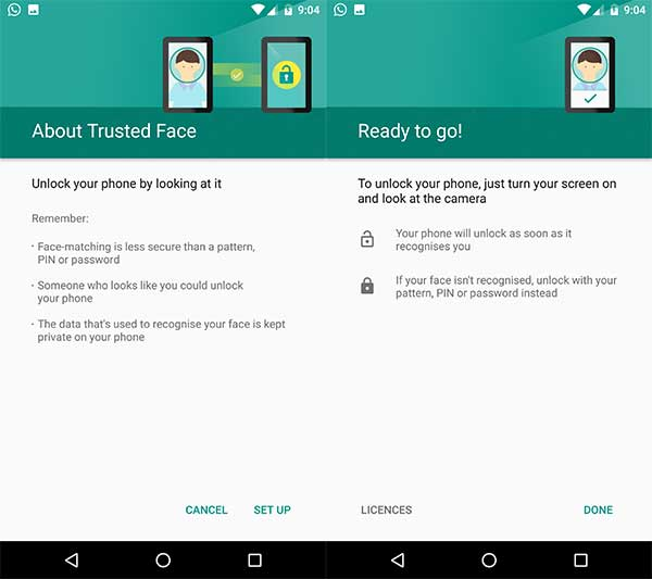 Face ID feature on Android - Set Trusted face