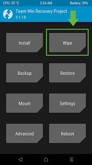 "How to Factory Reset OnePlus 5 - TWRP ""Wipe"" menu"