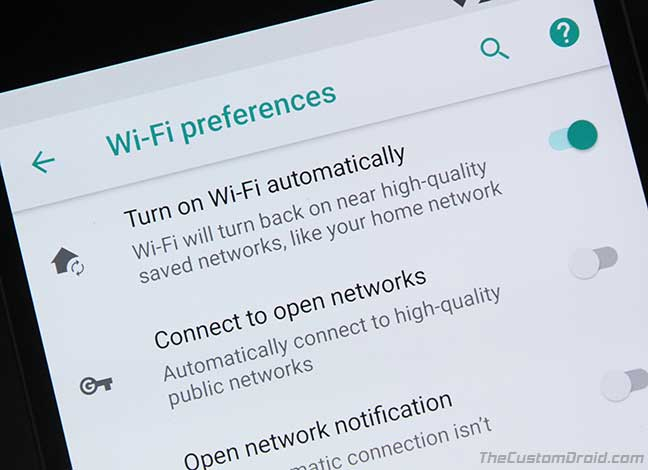 Get Turn on Wi-Fi Automatically Option for Nexus 6P/5X on Android Oreo
