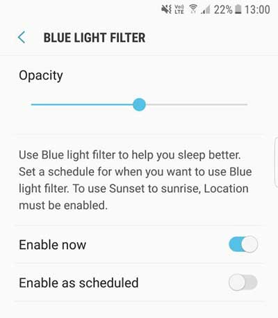 Use Blue Light Filter on Galaxy Note 8 - Display Settings - Blue Light Filter Settings