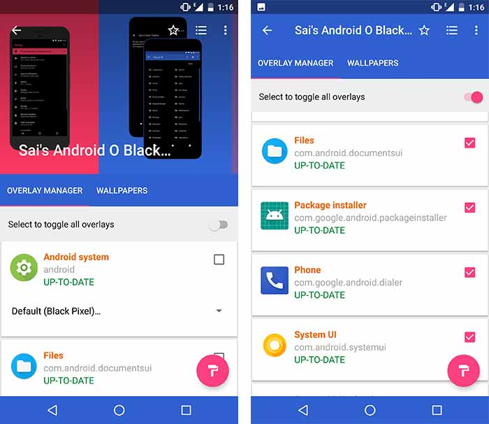 Install Custom Themes on Android Oreo without Root - Selecting Overlays in Substratum