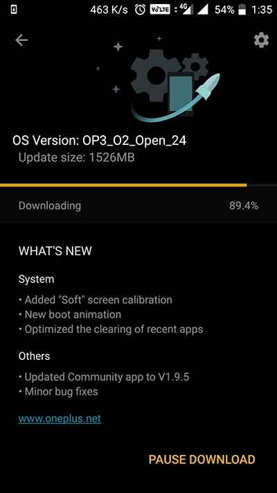 OTA notification - OxygenOS Open Beta 24 on OnePlus 3