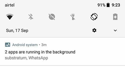 """Persistent """"App is running in background"""" notification"""