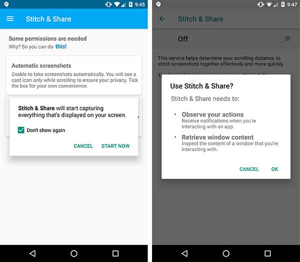 Take Scrolling Screenshots on Android - Grant Permissions to Snitch & Share App
