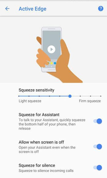 Change Active Edge Squeeze Sensitivity in Device Settings