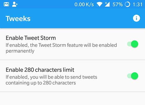 Enable 280 Character Tweets and Tweetstorm Feature - Tweeks Xposed Module