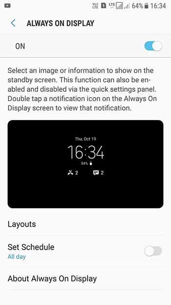 Enable Always On Display on Samsung Nougat - Screenshot 4