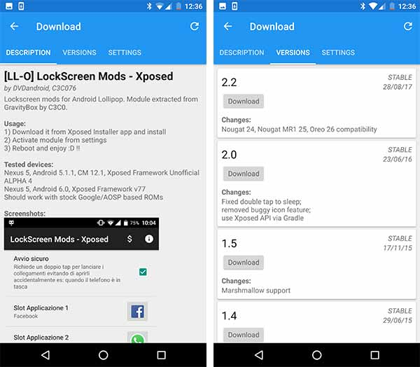 Xposed Framework on Nougat - Downloading and installing Xposed Modules