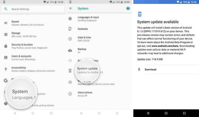 Android 8.1 Developer Preview 2 OTA Notification