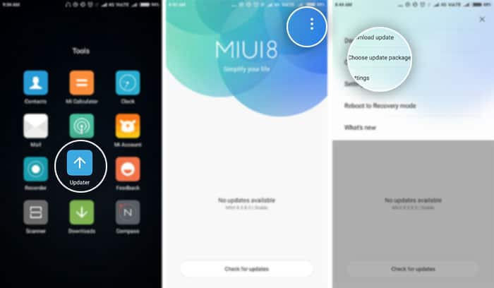 Install MIUI 9 Stable ROM on Xiaomi Mi 4s using Updater App