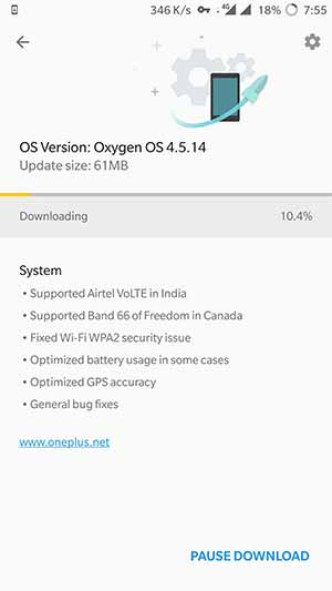 OxygenOS 4.5.14 OTA Notification