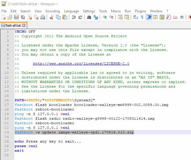 Restore stock firmware on Google Pixel 2 - Editing 'flash-all.bat'
