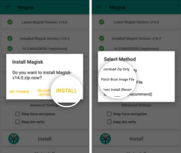Patch Boot Image to Install Magisk 14.5 Beta Update