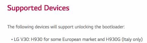 Unlock Bootloader on LG V30 - Support List
