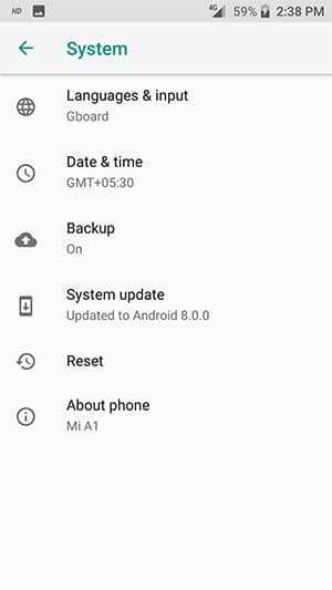 Install Android 8.0 Oreo Beta on Xiaomi Mi A1 - Screenshot