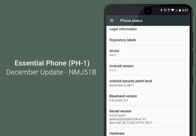 Install Essential Phone December Update OTA (NMJ51B)