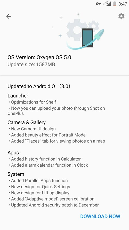 OnePlus 5 OxygenOS 5.0 Update - OTA notification