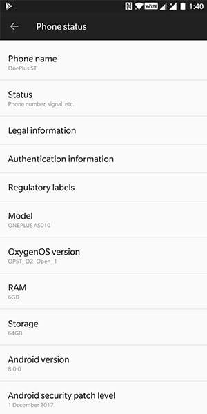 OxygenOS Open Beta 1 on OnePlus 5T - Screenshots
