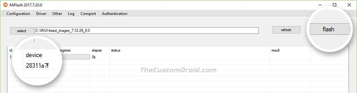 Click Flash button to Install MIUI Fastboot ROM using MiFlash Tool