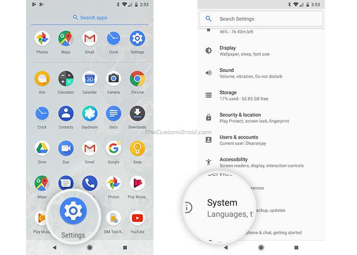 Enable Active Edge on Google Pixel 2 - Go to Settings